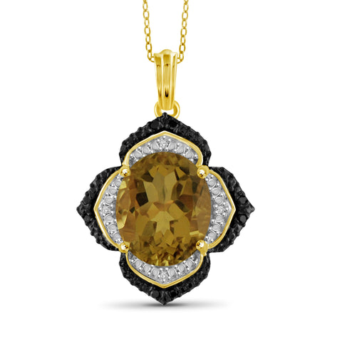 JewelonFire 1 1/2 Carat T.G.W. Whiskey And Black & White Diamond Accent 14kt Gold Over Silver Flower Pendant