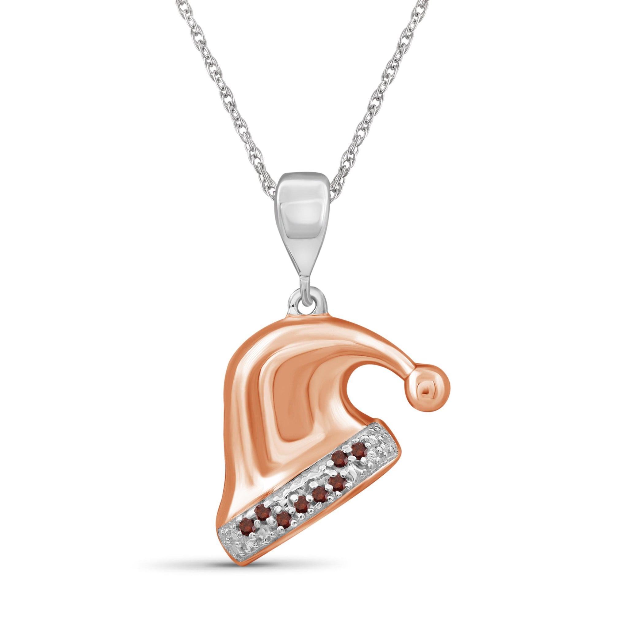 JewelonFire Accent Red Diamonds Christmas Cap Pendant in Two-tone Silver