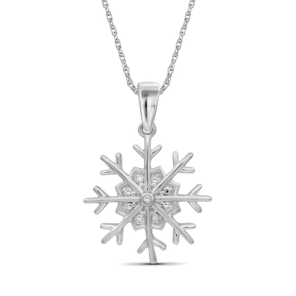 JewelonFire Accent Genuine White Diamonds Snowflake Pendant Necklace in Sterling Silver
