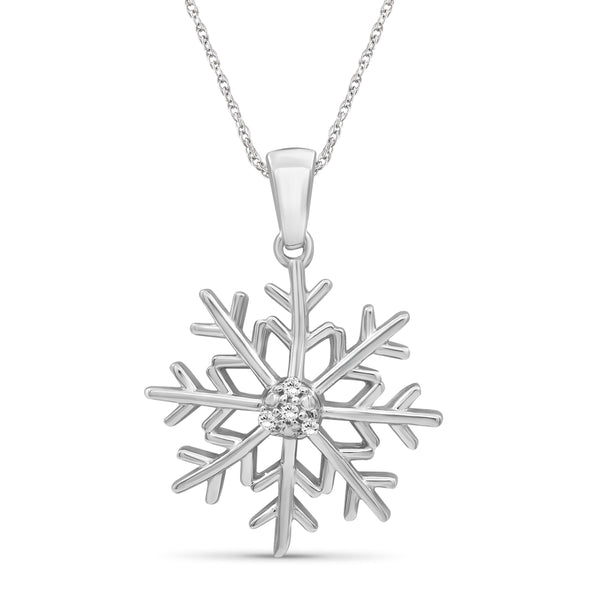 JewelersClub Accent Genuine White Diamonds Snowflake Pendant Necklace in Sterling Silver