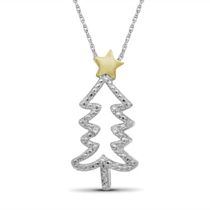 JewelonFire Accent Genuine White Diamonds Christmas Tree Pendant in Two-Tone Sterling Silver