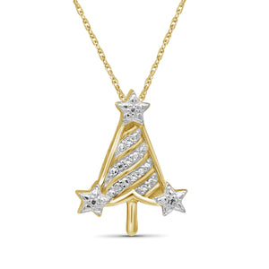 JewelersClub Accent Genuine White Diamonds Christmas Tree Pendant in Two-Tone Sterling Silver