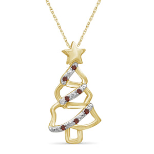 JewelonFire Accent Genuine White Diamonds Christmas Tree Pendant in Gold over Silver