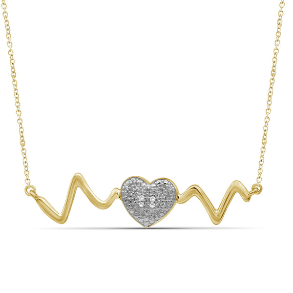 JewelonFire Accent Genuine White Diamonds Heartbeat Necklace in Two-Tone Sterling Silver