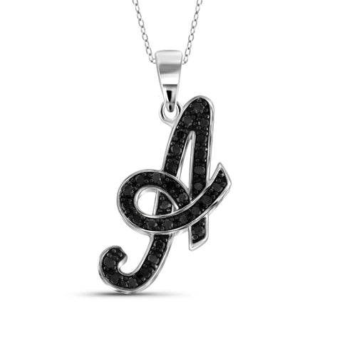 "JewelersClub 1/4 Carat T.W. Black Diamond Sterling Silver ""A to Z"" Initial Pendant"