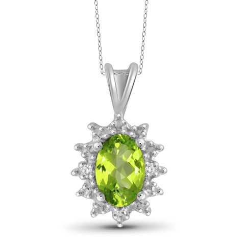 JewelonFire 1/2 Carat T.G.W. Peridot and White Diamond Accent Sterling Silver Pendant - Assorted Colors