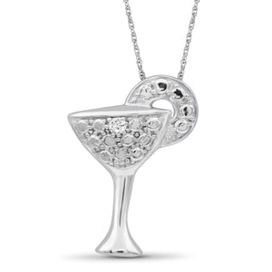 JewelersClub 1/20 Carat T.W. White Diamond Sterling Silver Martini Glass Pendant - Assorted Colors