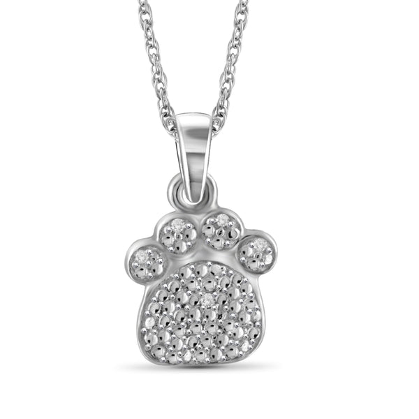 JewelersClub Accent White Diamond Paw Pendant in Sterling Silver