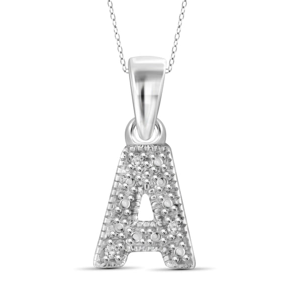 "JewelonFire White Diamond Accent Sterling Silver ""A to Z"" Initial Pendant"