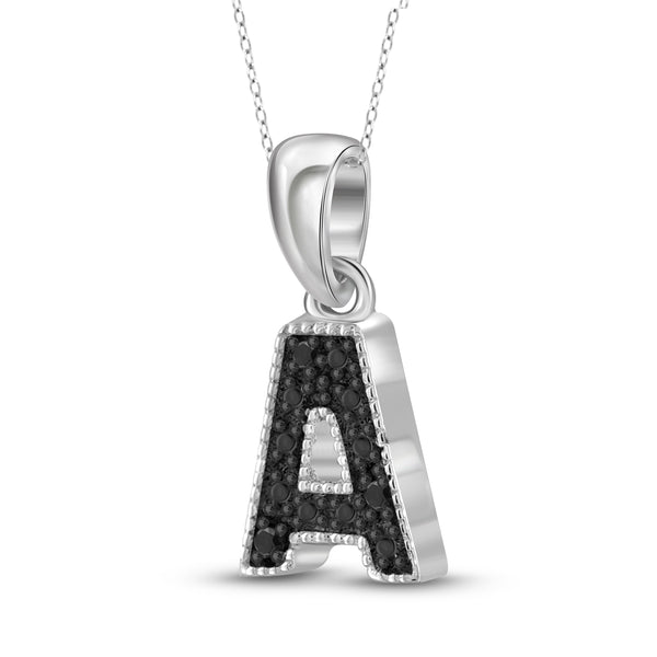 "JewelonFire Black Diamond Accent Sterling Silver ""A TO Z"" Initial Pendant"