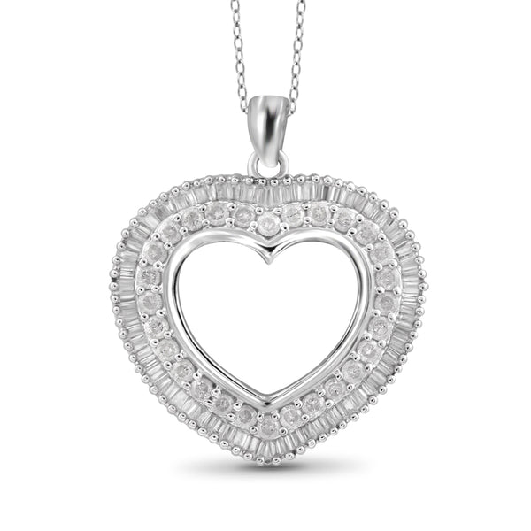 JewelersClub 1 Carat T.W. White Diamond Sterling Silver Open Heart Pendant - Assorted Colors