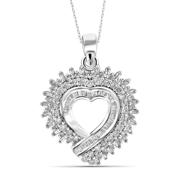 JewelersClub 1 Carat T.W. White Diamond Sterling Silver Spikey Heart Pendant - Assorted Colors