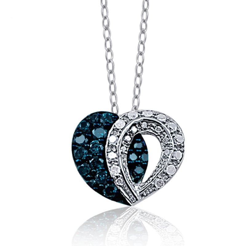 JewelersClub 3/4 Carat T.W. Blue and White Diamond Sterling Silver Heart Halves Pendant