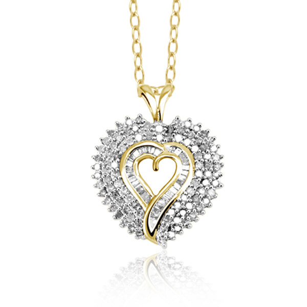 JewelonFire 1 Carat T.W. White Diamond Sterling Silver Triple Heart Pendant - Assorted Colors