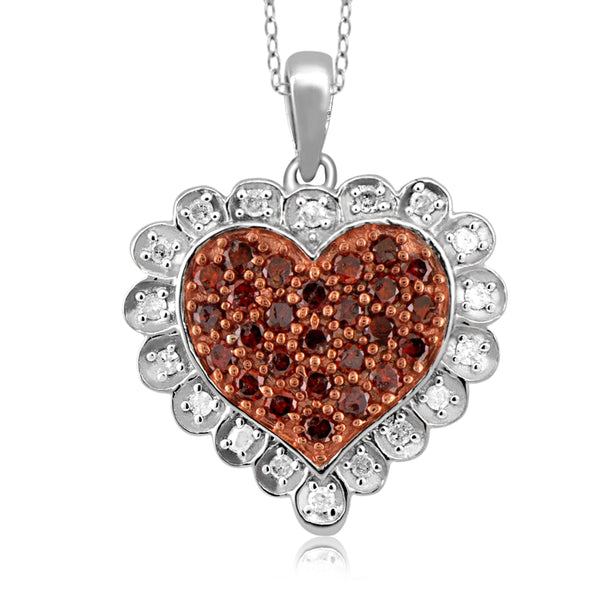 JewelonFire 1/2 Carat T.W. Red and White Diamond Sterling Silver Heart Pendant