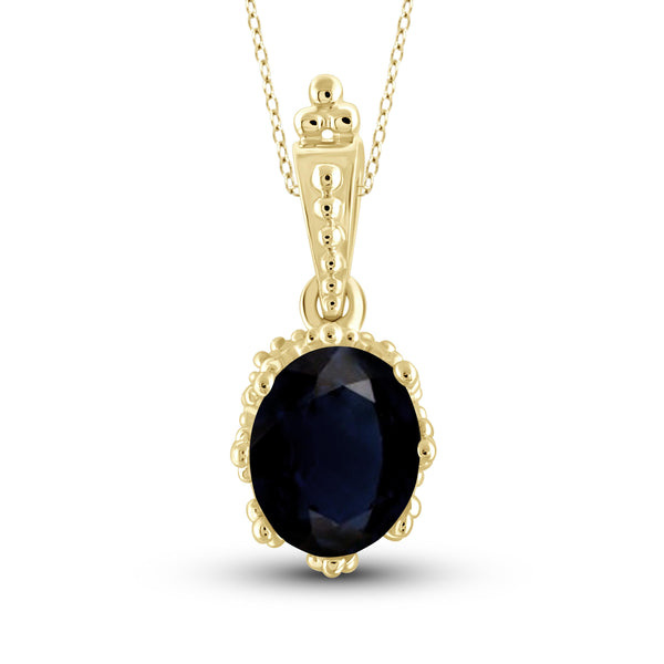 JewelonFire 1.90 Carat T.G.W. Sapphire Sterling Silver Fashion Pendant - Assorted Colors