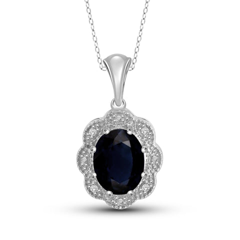 JewelonFire 1.90 Carat T.G.W. Sapphire and White Diamond Accent Sterling Silver Fashion Pendant - Assorted Colors