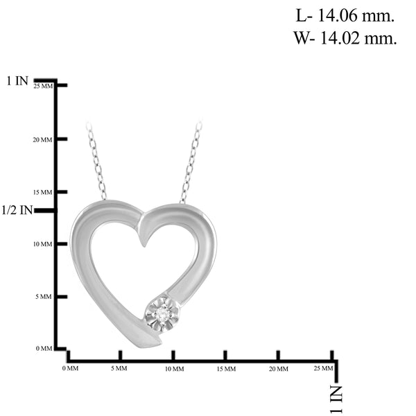 JewelonFire True Love White Diamond Accent Sterling Silver Heart Pendant - Assorted Colors