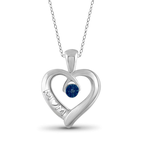 JewelonFire Blue Diamond Accent Sterling Silver Mother Heart Pendant
