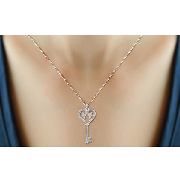 JewelonFire White Diamond Accent Sterling Silver Key and Heart Pendant - Assorted Colors