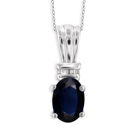 JewelonFire 1.00 Carat T.G.W. Sapphire and 1/20 ctw White Diamond Sterling Silver Pendant - Assorted Colors