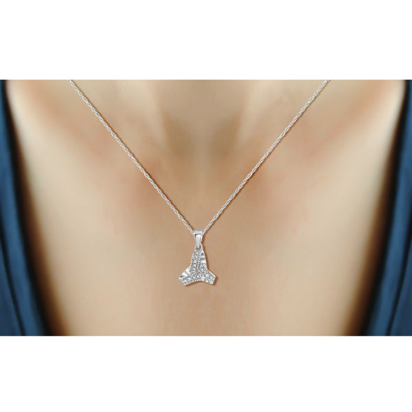JewelonFire Accent White Diamond Love Knote Pendant in Sterling Silver