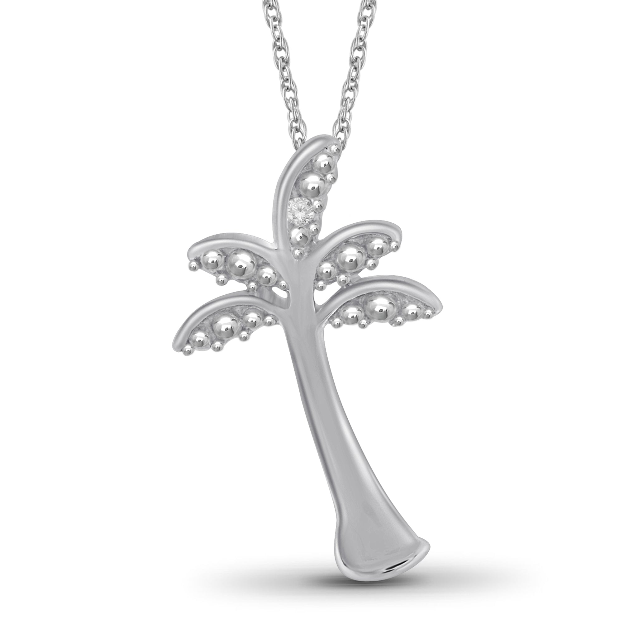 JewelonFire Accent White Diamond Palm Tree Pendant in Sterling Silver