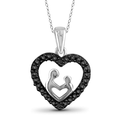 JewelonFire Black Diamond Accent Sterling Silver Mother and Child Heart Pendant - Assorted Colors