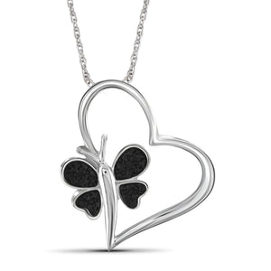 JewelonFire Black Diamond Accent Sterling Silver Heart and Butterfly Pendant - Assorted Colors