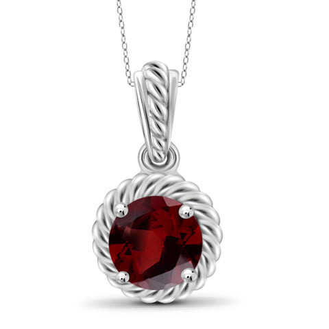 JewelonFire 3/4 Carat T.G.W. Garnet Sterling Silver Pendant - Assorted Colors