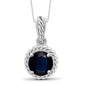 JewelonFire 1 1/5 Carat T.G.W. Sapphire Sterling Silver Halo Pendant - Assorted Colors