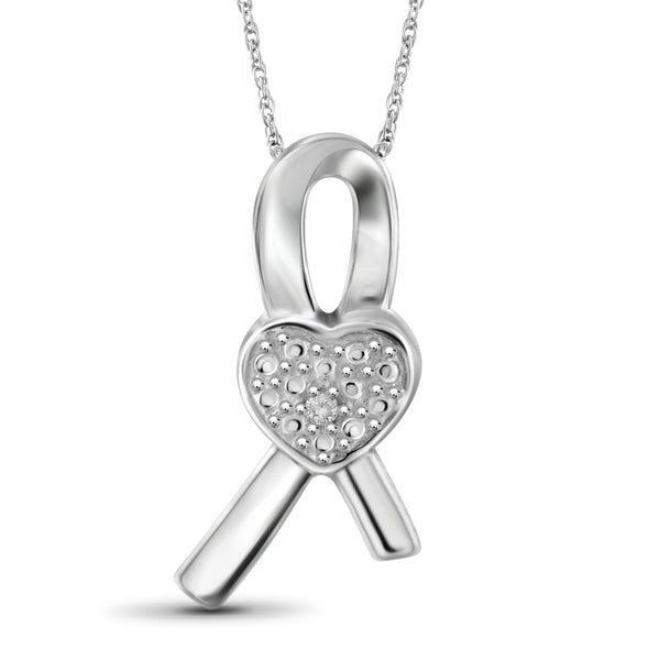JewelersClub Accent White Diamond Ribbon Heart Pendant in Sterling Silver