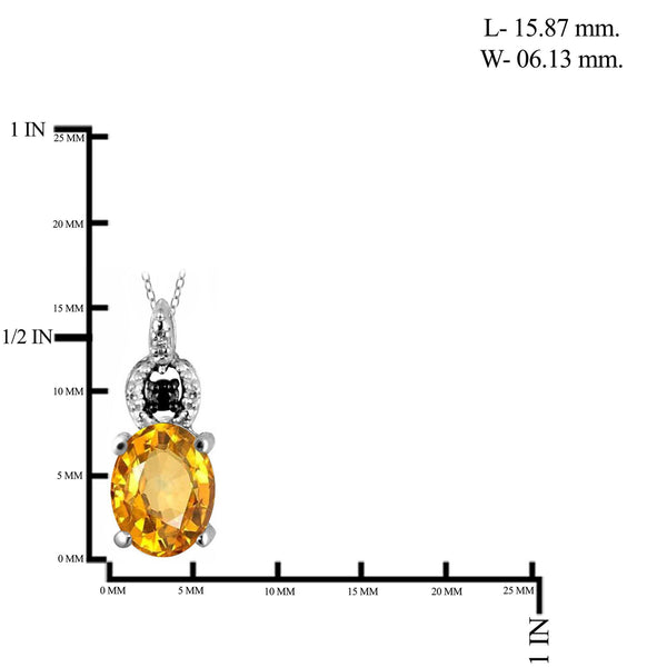 JewelonFire 1.00 Carat T.G.W. Citrine And 1/20 Carat T.W. Black & White Diamond Sterling Silver Pendant - Assorted Colors