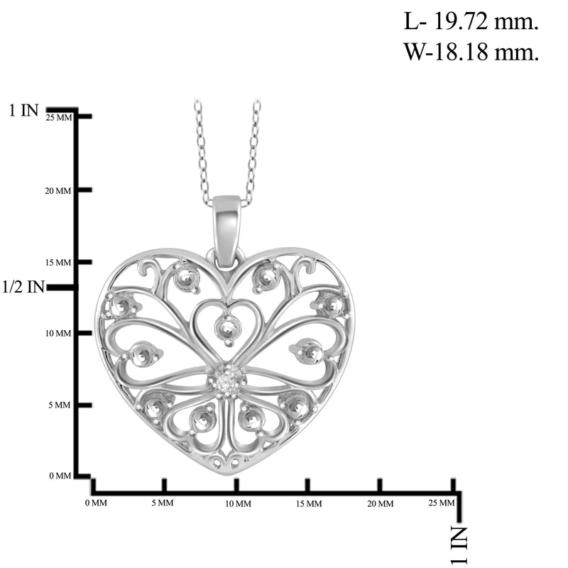 JewelersClub White Diamond Accent Sterling Silver Heart Pendant - Assorted Colors