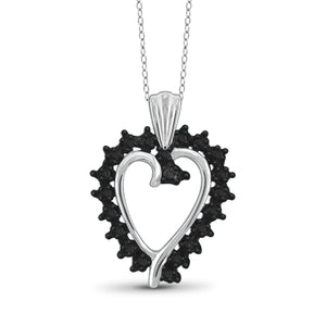 JewelonFire Black Diamond Accent Sterling Silver Heart Pendant - Assorted Colors