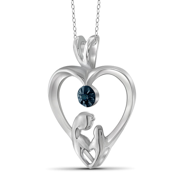 JewelonFire Blue Diamond Accent Sterling Silver Mother and Child Heart Pendant