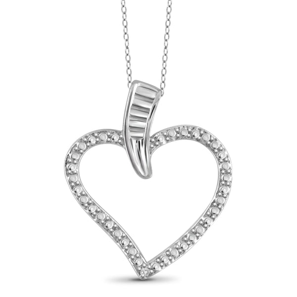 JewelonFire White Diamond Accent Sterling Silver Heart Pendant - Assorted Colors