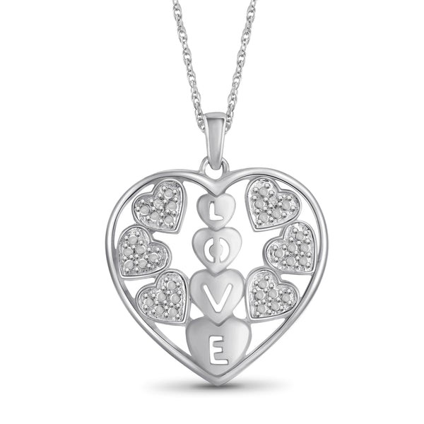 JewelonFire Accent White Diamond Love in Heart Sterling Silver Pendant