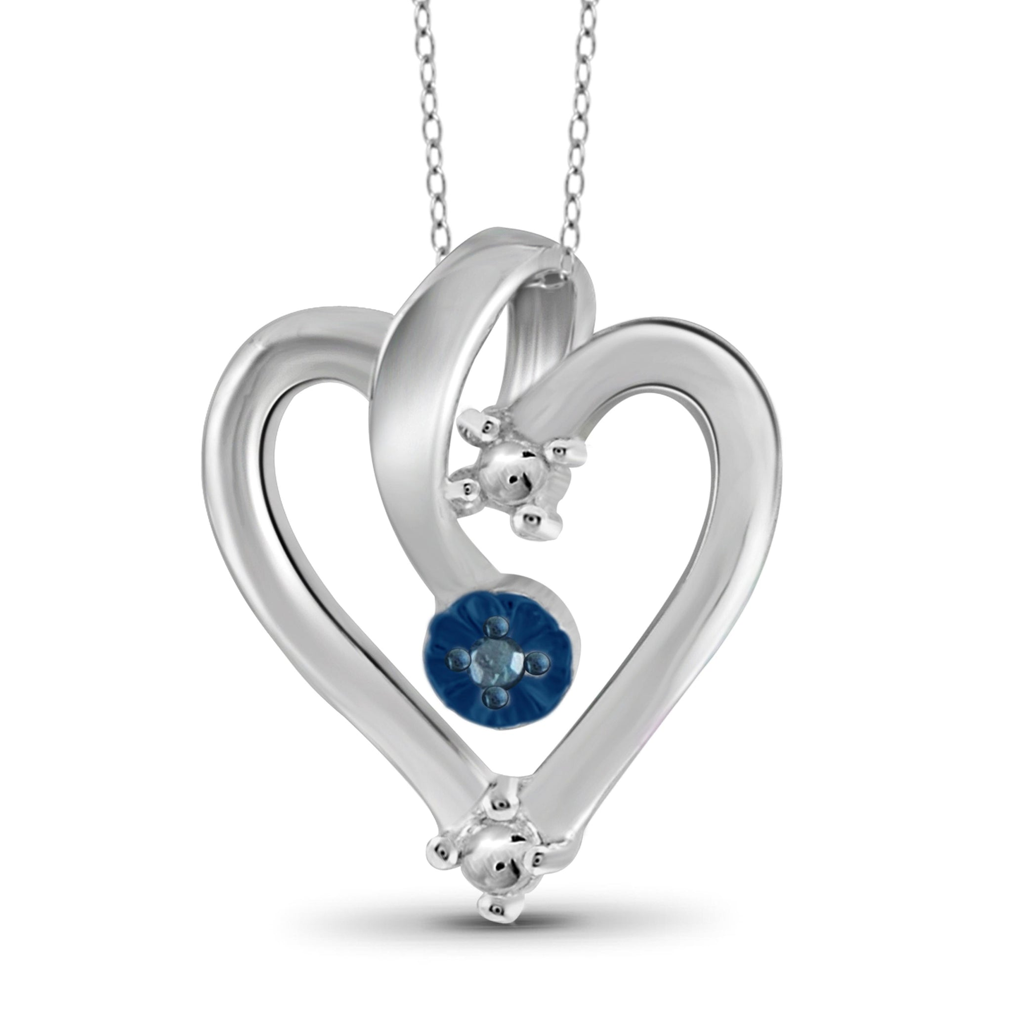 JewelonFire Blue Diamond Accent Sterling Silver Heart Pendant