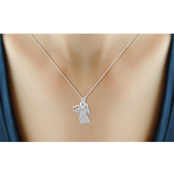 JewelersClub Accent White Diamond Angel Pendant in Sterling Silver