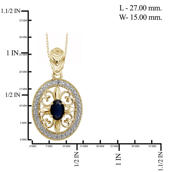 JewelonFire 0.60 Carat T.G.W. Sapphire and White Diamond Accent Sterling Silver Pendant - Assorted Colors