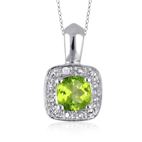 JewelonFire 1.00 Carat T.G.W. Peridot And White Diamond Accent Sterling Silver Pendant - Assorted Colors