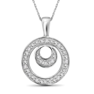 JewelonFire Accent White Diamond Double Circle Pendant in Sterling Silver