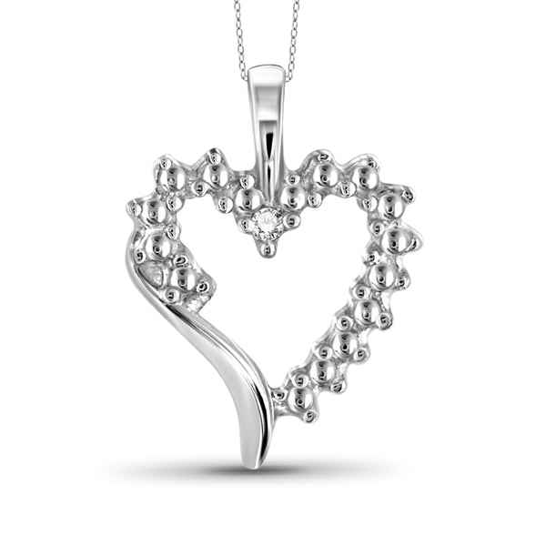 JewelonFire Accent White Diamond Heart Pendant in Sterling Silver