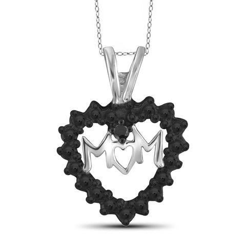 JewelonFire Black Diamond Accent Sterling Silver Mother Heart Pendant - Assorted Colors
