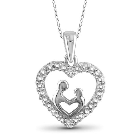 JewelonFire White Diamond Accent Sterling Silver Mother and Child Heart Pendant - Assorted Colors