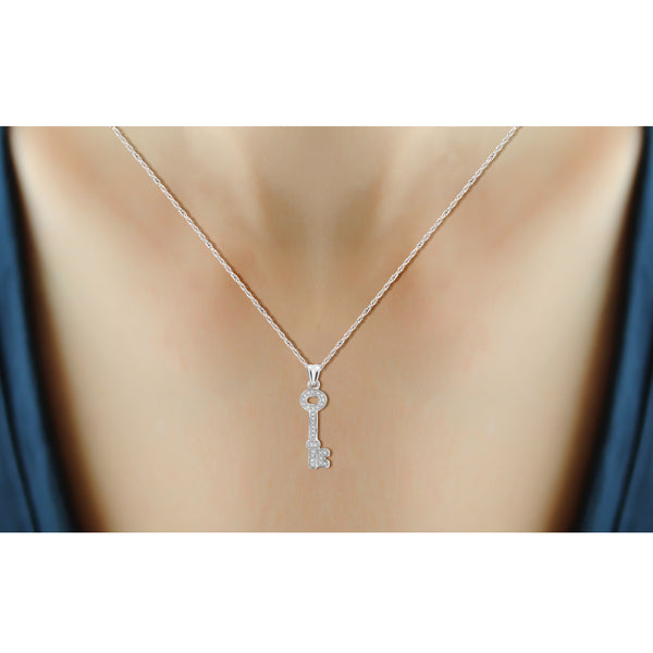 JewelonFire Accent White Diamond Key Pendant in Sterling Silver