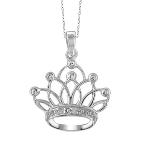 JewelonFire Accent White Diamond Crown Pendant in Sterling Silver