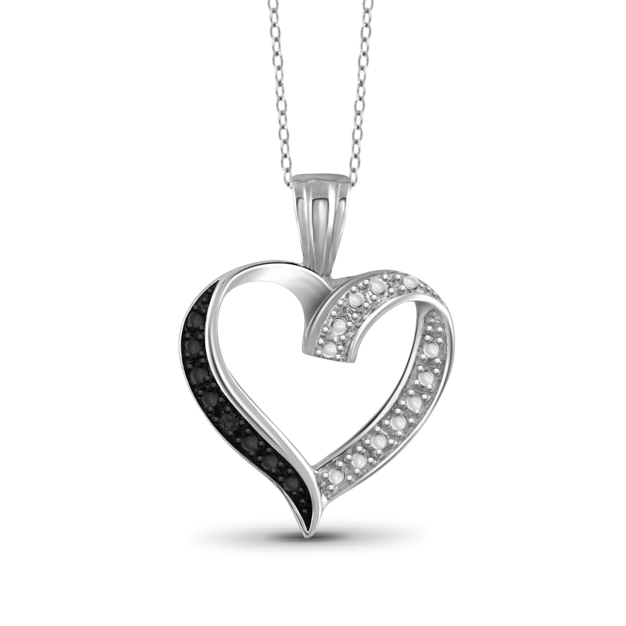 JewelonFire Black Diamond Accent Sterling Silver Open Heart Pendant - Assorted Colors