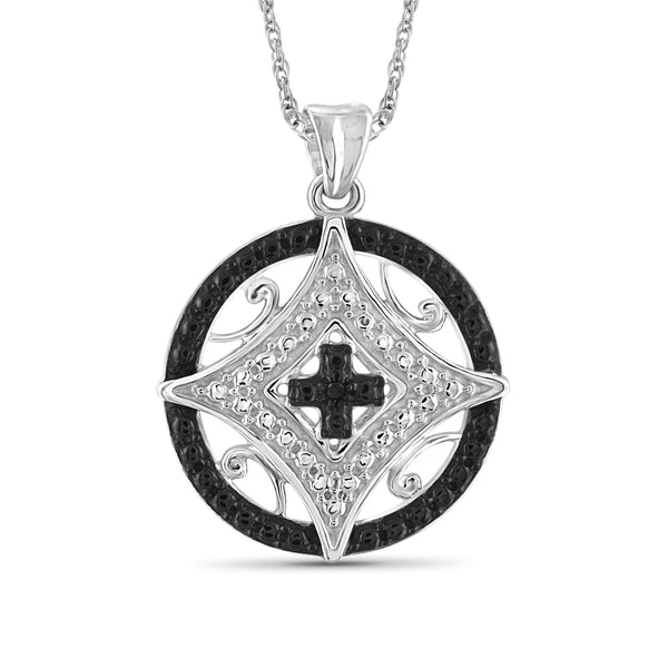 JewelonFire Accent Black And White Diamond Pendant in Sterling Silver